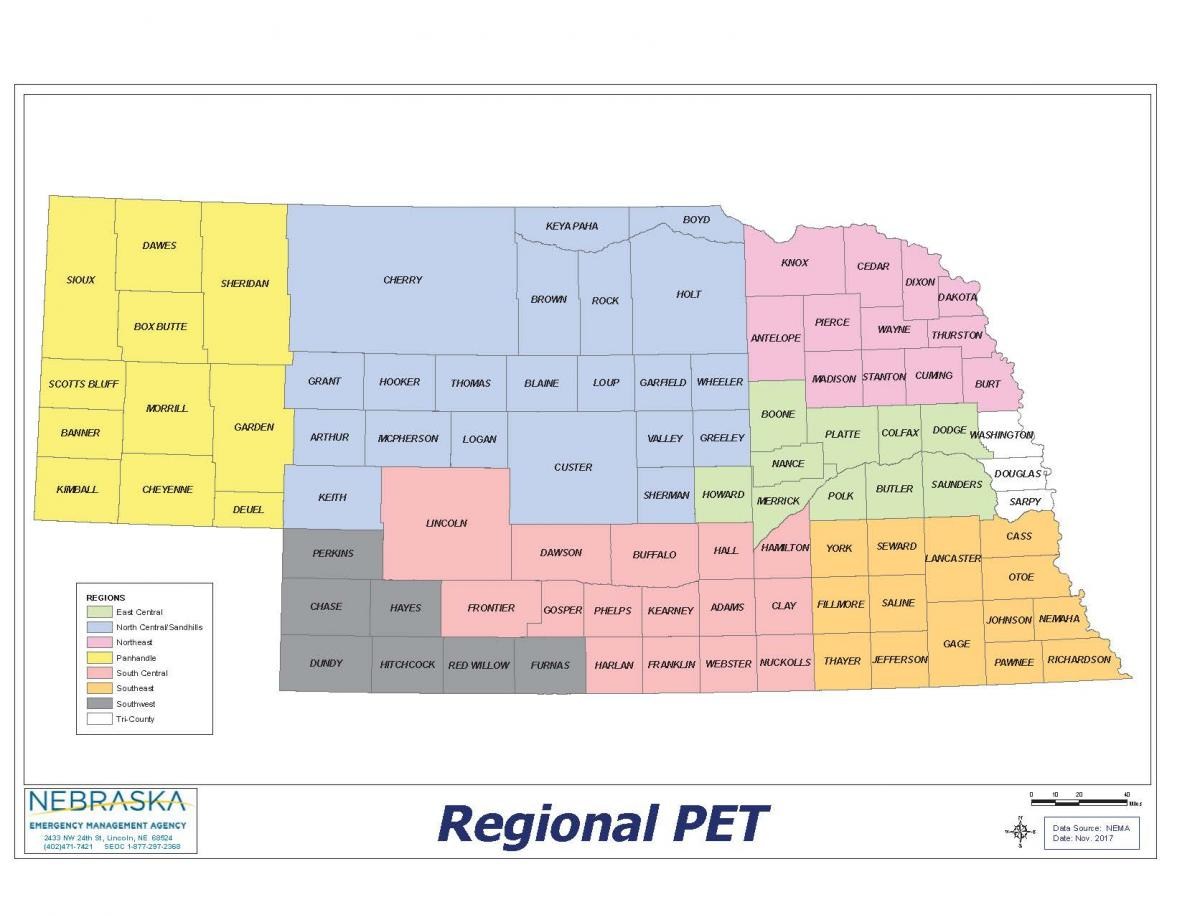 Regional PET map of Nebraska