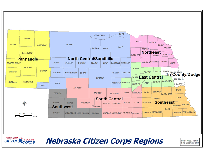 Nebraska Citizen Corps Regions Map