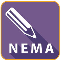 purple box with white pencil and NEMA wording