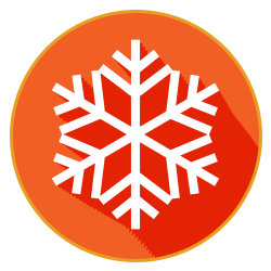 red snowflake winter weather button